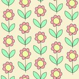 Beautiful creative textiles. Pink flower on a yellow background. Wallpaper for the children`s room. Vector illustration vector illustration