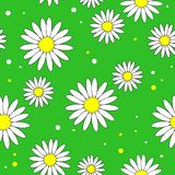 Beautiful creative textiles. White daisy flower on a yellow background. Wallpaper for children`s room, gift wrapping. Vector stock illustration