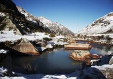 Beautiful creek in the Cordillera mountain. Stone in the blue creek for mountain Cordillera stock photography