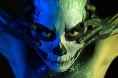 Free Beautiful Creepy Girl With Skeleton Makeup Royalty Free Stock Photography - 103358937