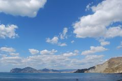 Crimean view. Beautiful crimean view with a black sea and clouds royalty free stock image