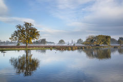 Beautiful crisp Autumn morning landscape over lake Royalty Free Stock Images