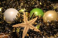 Beautiful Cristmas toys and sea star Stock Image