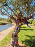 Beautiful crochet trees in Silves in Portugal royalty free stock photo