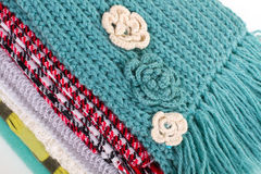 Beautiful crocheted flowers on the scarf. Stock Images
