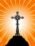 Beautiful cross at the sunset Stock Photography