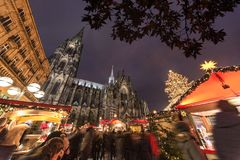 Beautiful crowded Cologne Christmas market