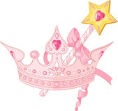 Princess crown and magic wand. Beautiful crown and  magic wand  for true princess Royalty Free Stock Images