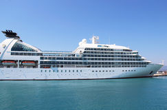 Beautiful cruise ship and blue sea Royalty Free Stock Image