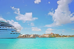Beautiful cruise ship docked Stock Image