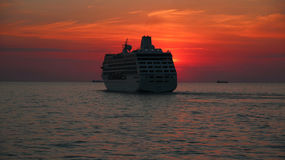 Beautiful cruise ship at sunset Royalty Free Stock Photo