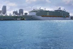 Beautiful cruise vacation boat in Miami Downtown Royalty Free Stock Images