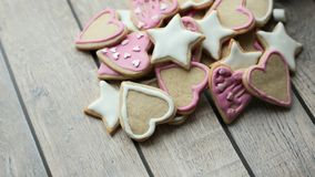 Beautiful crumbly home-made biscuits of different forms royalty free stock photos