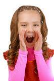 Beautiful crying little girl in red Stock Photos