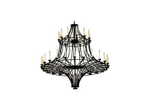 Beautiful crystal ancient chandelier in a hall on white isolated Royalty Free Stock Images