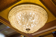 The beautiful crystal chandelier in ball room Royalty Free Stock Photos