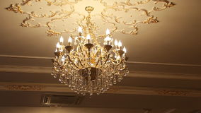 Beautiful crystal chandelier stock footage