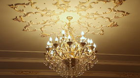 Beautiful crystal chandelier stock video