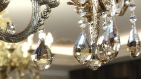 Beautiful crystal chandelier on the ceiling. stock video
