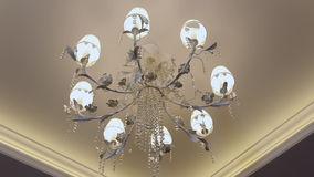 Beautiful crystal chandelier on the ceiling. stock video footage