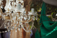 Beautiful crystal chandelier close up Royalty Free Stock Photos