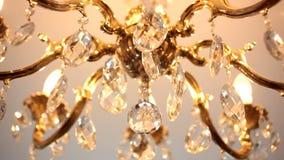 Beautiful crystal chandelier stock video footage