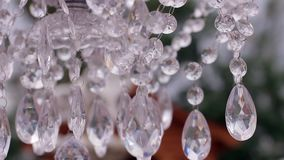 Beautiful crystal chandelier. stock video footage