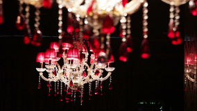Beautiful crystal chandelier stock video footage
