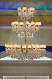Beautiful crystal chandelier in a room Stock Image