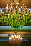 Beautiful crystal chandelier in a room Royalty Free Stock Image