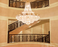 Beautiful crystal chandelier in a roombeautiful crystal chandeli Royalty Free Stock Image