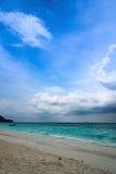 Beautiful crystal clear sea and tropical beach at tropical parad Stock Photos