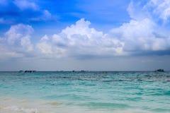 Beautiful crystal clear sea and tropical beach at tropical parad Royalty Free Stock Photos