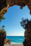 Beautiful crystal clear sea view from inside the cave Royalty Free Stock Images