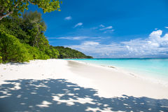 Beautiful crystal clear sea and white sand beach at Tachai island, Andaman Stock Image