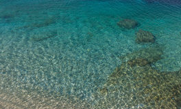 Beautiful crystal clear waters from the beach of Kassiopi, Corfu, Greece.  Royalty Free Stock Images