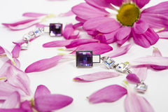 Beautiful crystal earings with lila petals Stock Photography