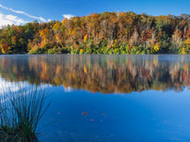 Beautiful Crystal Lake in NC on chilly autumn morning Stock Image