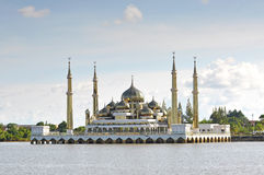 Beautiful crystal mosque with blue sky and clouds at Terengganu, Royalty Free Stock Photo