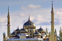Beautiful crystal mosque with blue sky and clouds at Terengganu, Royalty Free Stock Photos