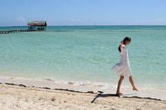 Beautiful Cuba hot happiness. The yang lady enjoying the gorgeous beach of Cuban island stock photos