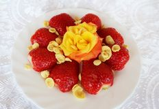 Beautiful cultivated deep red delicious strawberries, macro photography, decoration with fruit in white and rose flower. Beautiful cultivated deep red delicious stock photos