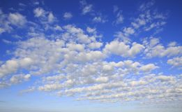 Beautiful cumulus cirrus clouds in blue sky Royalty Free Stock Images