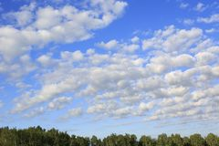Beautiful cumulus cirrus clouds over forest Stock Photo