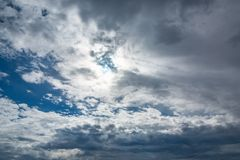Beautiful cumulus clouds in a blue sky.  royalty free stock image