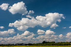 Beautiful cumulus clouds on blue sky on a beautiful springtime d. Epic view of skyscape with white fluffy cumulus clouds on blue sky on a springtime day Royalty Free Stock Photos