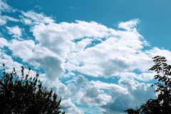 Beautiful cumulus clouds. Royalty Free Stock Photography