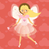 Beautiful Cupid girl with wings in pink. Flying fairy in pink dress. Valentines day, romantic character. Vector illustration Royalty Free Stock Image