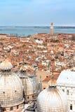 Beautiful cupolas of San Marco, Venice. View of cupolas of Basilica of San Marco. View from Campanile Stock Photos