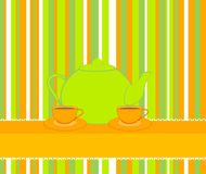 Beautiful cups and tea-pots Stock Images